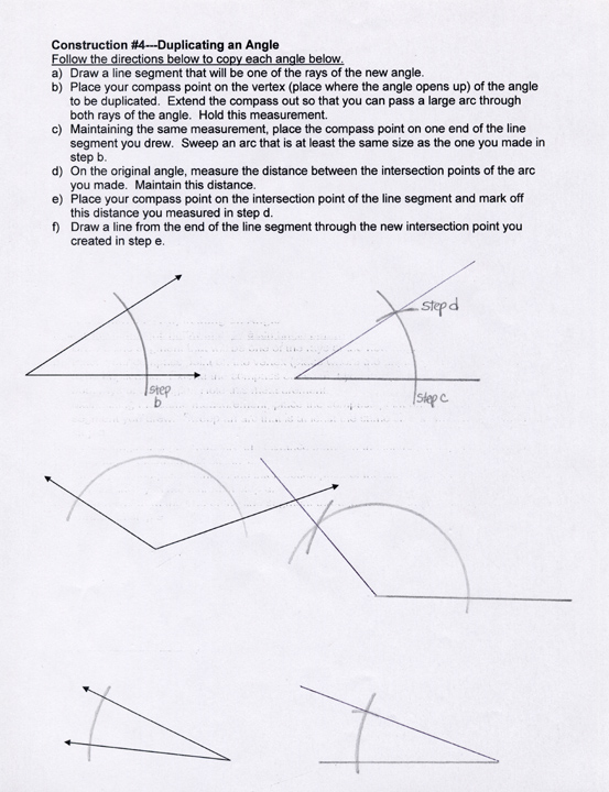 geometry constructions This page is the high school geometry common core curriculum support center for objective gco12 about making formal geometric constructions many resources like assessment examples, teaching notes, vocabulary lists, student worksheets, videos explanations, textbook connections, web links are all here to help teachers and students.